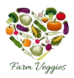 Farm veggies emblem in shape of heart vector