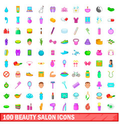 100 beauty salon icons set cartoon style vector