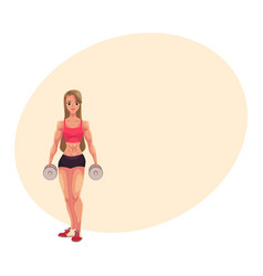 young woman female bodybuilder weightlifter vector image