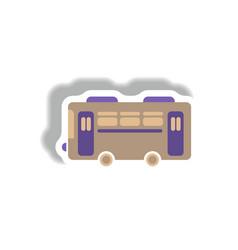 Stylish icon in paper sticker style retro bus vector