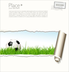 Soccer background with torn paper vector image