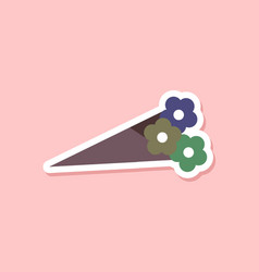 Paper sticker on stylish background bouquet of vector
