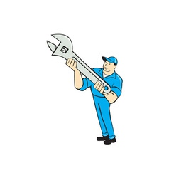 Mechanic presenting spanner wrench cartoon vector