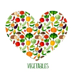 Vegetables background with heart vector