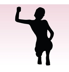Woman silhouette with hand gesture triumph sign vector