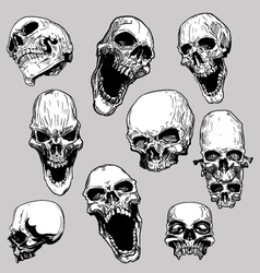 Hand drawn skulls vector