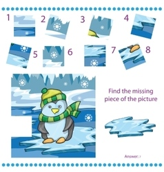 Find missing piece game for children with penguin vector