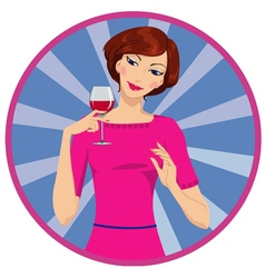 Girl drinking red wine vector