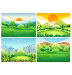 Four scenes of nature at daytime vector