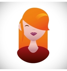 Pretty young woman with red hair g vector