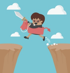 Ride over the cliff to success vector