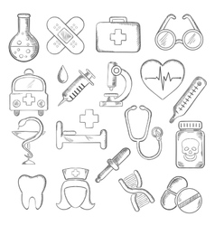 Medical and healthcare icons sketches vector