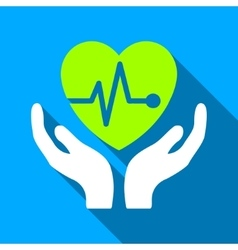 Cardiology care hands flat long shadow square icon vector