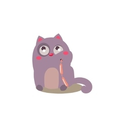 Cat eating sausages vector