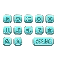 Buttons square small blue vector