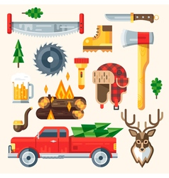 Lumberjack set vector