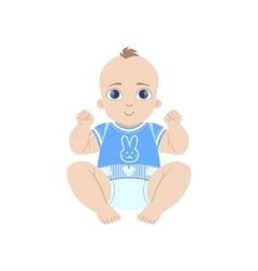 Happy Baby In Blue vector image