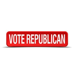 Vote republican red 3d square button isolated on vector