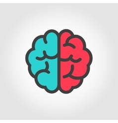 Flat color line brain icon vector