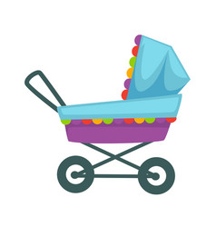 Baby transport pram in blue violet colors vector