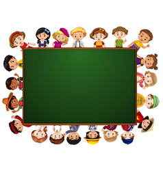 blackboard with many kids around the border vector image vector image