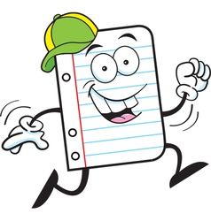 Cartoon Notebook Paper Running vector image vector image