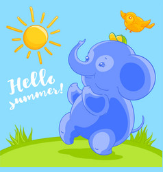 Cute blue baby elephant and the pretty bird in vector
