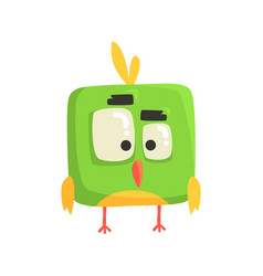 Cute little green funny chick bird square shape vector