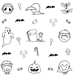 Doodle of scary face halloween vector