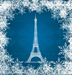 Eiffel tower snowflakes vector