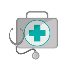 First aid kit and stethoscope icon vector