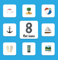 Flat icon summer set of coconut recliner ship vector