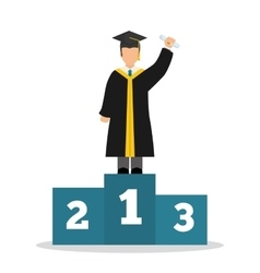 Graduation cap and boy avatar icon University vector image vector image