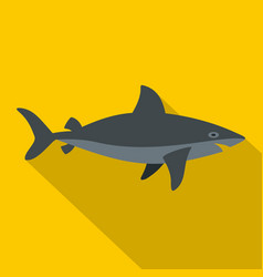 Grey shark fish icon flat style vector