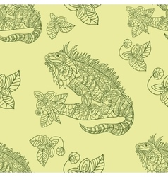 Hand drawn iguana ethnic tribal styled vector