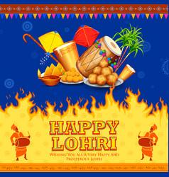 Happy lohri holiday background for punjabi vector
