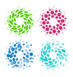 isolated abstract colorful round shape logos set vector image