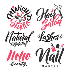 Logo beauty lettering custom handmade calligraphy vector