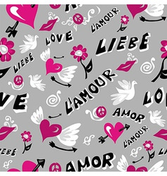 Love icons seamless pattern vector image vector image