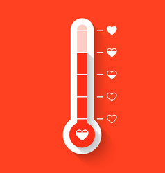 Love thermometer valentines day card element vector