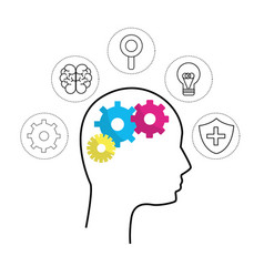 mental health silhouette person with gear brain vector image