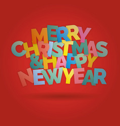 merry christmas and happy new year colorful vector image vector image