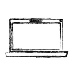 Monochrome blurred silhouette of laptop computer vector