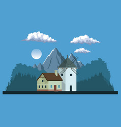 Night background landscape of mountains and house vector