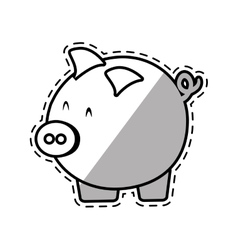Piggy money safety bank cut shadow vector