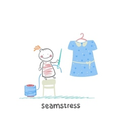 Seamstress holding a needle and thread and work on vector