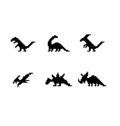 set of dinosaur icons in silhouette pixel style vector image vector image