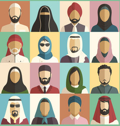 set of muslim islamic people faces avatars vector image