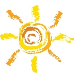 sketch of sun on white background vector image vector image