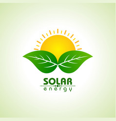solar energy concept with leaf and sun vector image